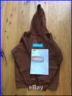 Supreme Box Logo Hodded Sweatshirt Rust Size M NEW DS FW17