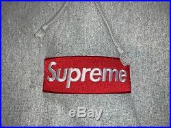 Supreme Box Logo Hooded Sweatshirt Grey FW14 Size XL 100% Authentic