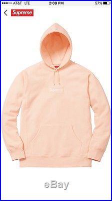 Supreme Box Logo Hooded Sweatshirt Peach Hoody Hoodie Size Large FW16 BOGO
