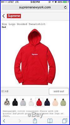 Supreme Box Logo Hooded Sweatshirt Red Large Bogo