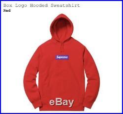 Supreme Box Logo Hooded Sweatshirt Red Large CONFIRMED ORDER BOGO Hoodie FW17