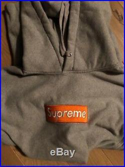 Supreme Box Logo Hoodie FW16 Orange/Grey Large