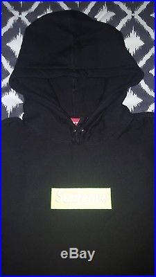 Supreme Box Logo Hoodie FW17 Black/Lime Size Large