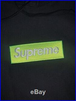 Supreme Box Logo Hoodie FW17 Green on Black DSWT Size L