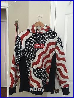 Supreme Box Logo Hoodie Flag USA 100% Authentic Size M NO RESERVE