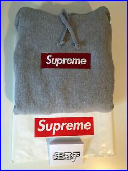 Supreme Box Logo Hoodie Grey FW16 Size Large