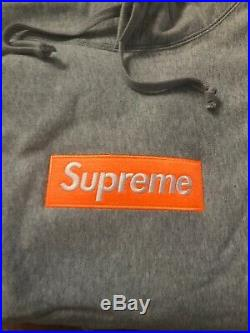 Supreme Box Logo Hoodie Grey Orange FW17 Size Large