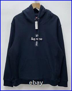 Supreme Box Logo Hoodie Navy Blue Size Large