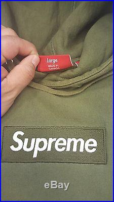 Supreme Box Logo Hoodie Olive Size L 1000% Authentic