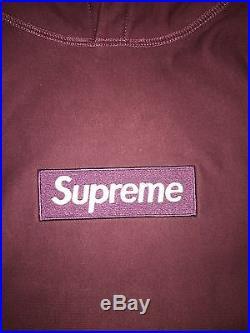 Supreme Box Logo Hoodie Pullover Burgundy Medium