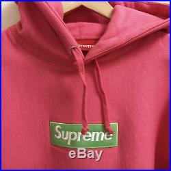 Supreme Box Logo Hoodie Size MEDIUM Pink Green FW17 Brand New