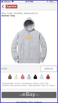 Supreme Box Logo Hoodie Size XL in Grey New with Tags