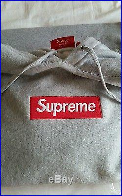 Supreme Box Logo Hoodie XL Gray