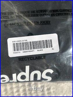 Supreme Box Logo L/S Tee Black Longsleeve Size XLARGE FW20 Confirmed