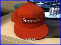 Supreme Box Logo New Era Hat Playboy Orange Sz 7 3/4