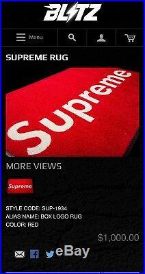 Supreme Box Logo Rug $1000 100% Authentic Friends Amd Family
