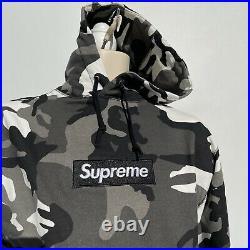 Supreme Box Logo Snow Camouflage Fleece Hoodie (Size X Large)