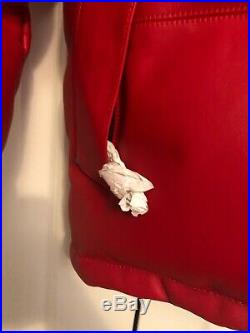 Supreme Box Logo The North Face Red Leather Nuptse Jacket Medium RARE TNF