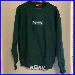 Supreme Box logo FW18 Crewneck Dark Green Size MEDIUM M