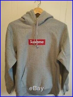 Supreme Box logo Hoodie Hooded Sweatshirt FW16 Grey Size M