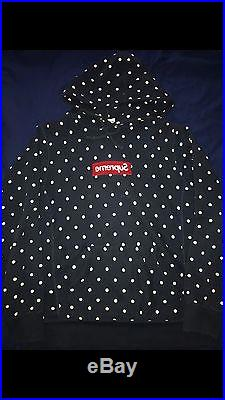 Supreme CDG Box Logo Hoodie Navy Polka Comme Des Garçons Large 100% Authentic