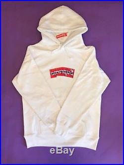 Supreme CDG Box Logo Hoodie SS17 White Size Large NWT