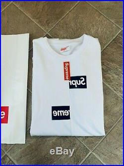 Supreme CDG Split Box Logo Tee White Sz M With Shopping Bag