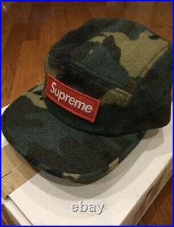 Supreme Camo Wool Camp Cap Green Woodland Box Logo Hat Hats Caps BOGO SOLD OUT
