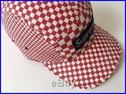 Supreme Checkered Cap 2008 Red White Black Camp 5-panel Hat Box Logo Vtg Vans