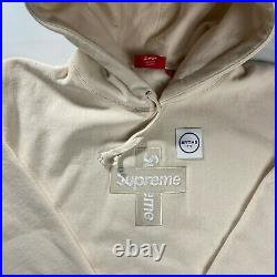 Supreme Cross Box Logo Hooded Sweatshirt Hoodie Natural FW20 Size XL IN HAND