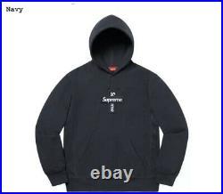 Supreme Cross Box Logo Hooded Sweatshirt Hoodie Navy Size Large In Hand Shipsnow