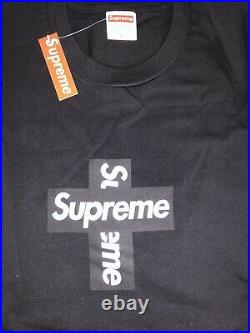 Supreme Cross Box Logo Tee BLACK Size Medium M BOGO WITH RECEIPT
