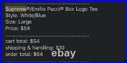 Supreme Emilio Pucci Box Logo Tee (White/Blue) Size L In Hand Ready To Ship