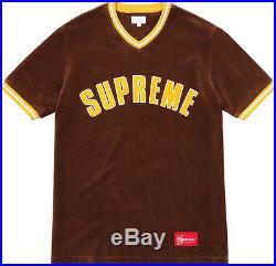 Supreme FW16 Velour Baseball Top Jersey Box Logo Tee Shirt Basketball Soccer CDG