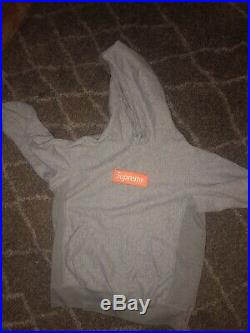 Supreme FW17 Orange Box Logo Hoodie Heather Gray Size Large 100% Authentic