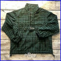 Supreme FW18 Nylon Plaid Pullover Jacket windbreaker box logo GREEN Large
