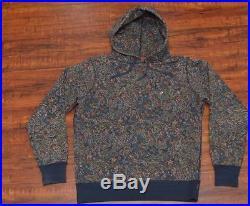 Supreme F/W 2011 Paisley Hoodie Sweatshirt Pullover Box Logo Navy Medium M