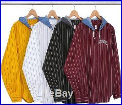 Supreme F/W 2014 Denim Hooded Baseball Shirt Jacket Box Logo Gold Burdundy S XL
