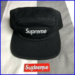Supreme Front Panel Zip Camp Cap Hat Box Logo Black SS17