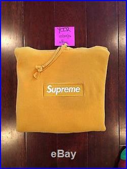 Supreme Gold Box Logo Hoodie Size Medium 100% Authentic