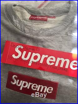Supreme Gray Box Logo Crewneck 100% Authentic DS NO RESERVE Yeezy Bape Palace
