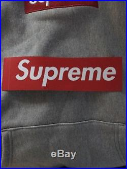 Supreme Heather Grey Box Logo Hoodie FW16