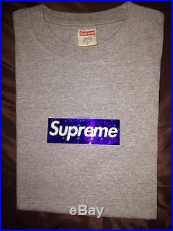 Supreme Holographic Box Logo T-Shirt Tee Purple Holo M Used Gray