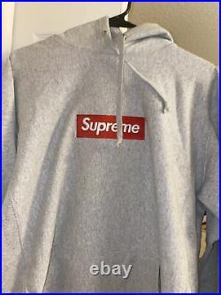 Supreme Hoodie Box Logo Grey With Red SIZE MEDIUM