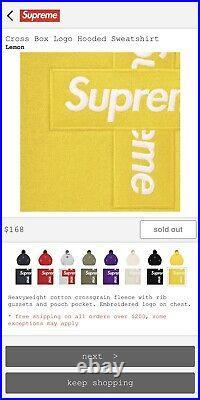 Supreme Hoodie Cross Box Logo Lemon Size XLarge