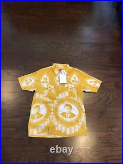 Supreme JFK Button Up Short Sleeve Yellow Shirt Box Logo Sample