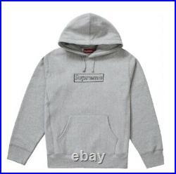 Supreme Kaws Chalk Logo Hoodie Box Logo size L heather grey BRAND NEW IN HAND