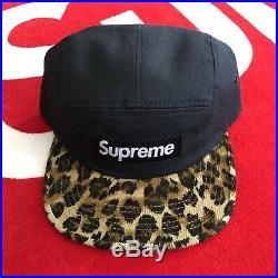 Supreme Leopard Safari Corduroy Box Logo FW11 5 Panel Camp Cap Hat Black DS RARE