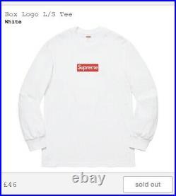 Supreme Long Sleeve Box Logo Tee White Size M