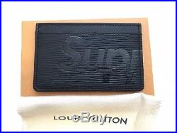Supreme Louis Vuitton Black Card Holder Epi. 100% Authentic. BNIB. Box logo LV